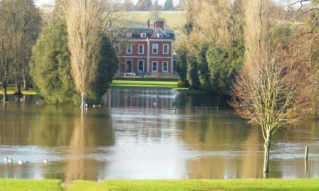 Fawley Court cut bridge flooded